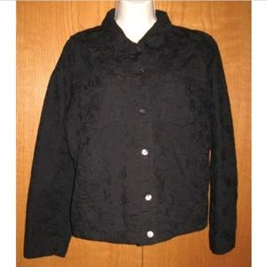 Chicos Design Black Textured Stretch Cotton Jacket